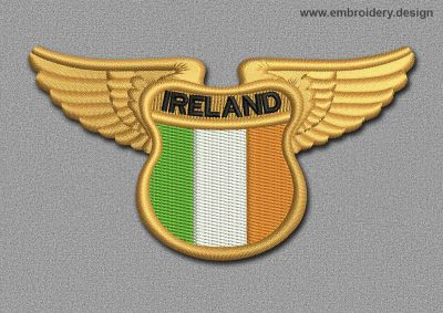 This Flags Patch Winged Flag of Ireland design was digitized and embroidered by www.embroidery.design.