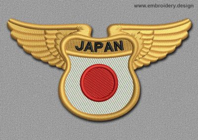This Flags Patch Winged Flag of Japan design was digitized and embroidered by www.embroidery.design.