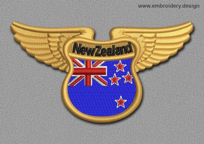 This Flags Patch Winged Flag of New Zealand design was digitized and embroidered by www.embroidery.design.