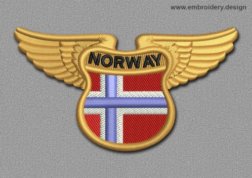 This Flags Patch Winged Flag of Norway design was digitized and embroidered by www.embroidery.design.