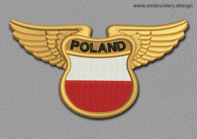 This Flags Patch Winged Flag of Poland design was digitized and embroidered by www.embroidery.design.