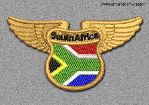 This Flags Patch Winged Flag of South Africa design was digitized and embroidered by www.embroidery.design.