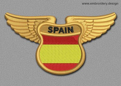 This Flags Patch Winged Flag of Spain design was digitized and embroidered by www.embroidery.design.