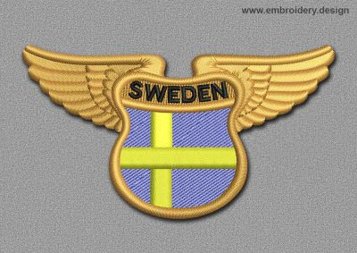 This Flags Patch Winged Flag of Sweden design was digitized and embroidered by www.embroidery.design.