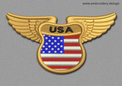 This Flags Patch Winged Flag of USA design was digitized and embroidered by www.embroidery.design.