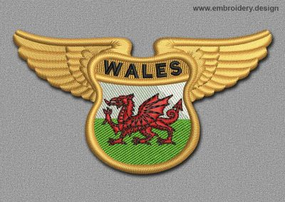 This Flags Patch Winged Flag of Wales design was digitized and embroidered by www.embroidery.design.