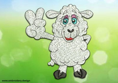 This Winner sheep design was digitized and embroidered by www.embroidery.design.