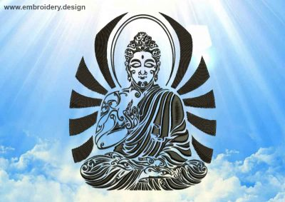This Wise Buddha design was digitized and embroidered by www.embroidery.design.