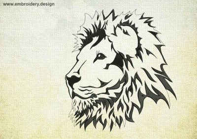 This Wise Lion design was digitized and embroidered by www.embroidery.design.