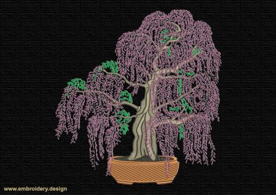 This Wisteria bonsai design was digitized and embroidered by www.embroidery.design.