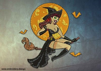 This Witch on a broomstick design was digitized and embroidered by www.embroidery.design.