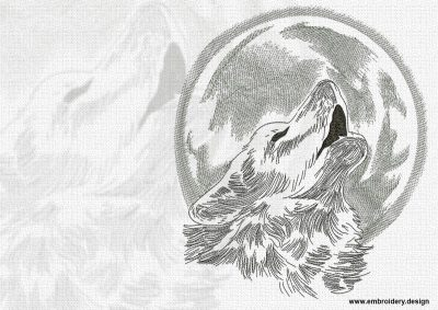 This Wolf howling at the moon design was digitized and embroidered by www.embroidery.design.