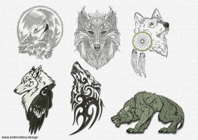 This Tribal wolves embroidery designs pack design was digitized and embroidered by www.embroidery.design.