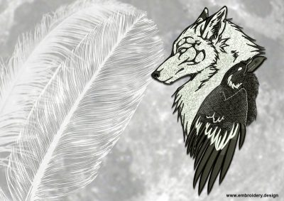 This Wolf & Raven design was digitized and embroidered by www.embroidery.design.