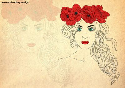 The embroidery design Woman in poppies wreath