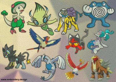 The embroidery design Wonderful pokemons provides with 11 creatures
