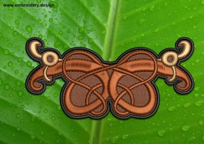 This Wooden Celtic Knot patch, transparent background design was digitized and embroidered by www.embroidery.design.