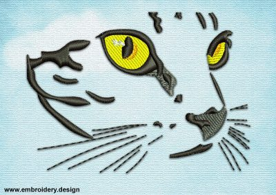 This Yellow-eyed cat's muzzle design was digitized and embroidered by www.embroidery.design.