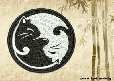 This Yin Yang with couple of kittens design was digitized and embroidered by www.embroidery.design.