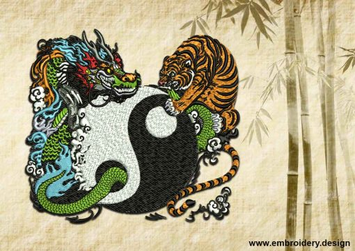 This Yin Yang and fight of tiger with dragon design was digitized and embroidered by www.embroidery.design.