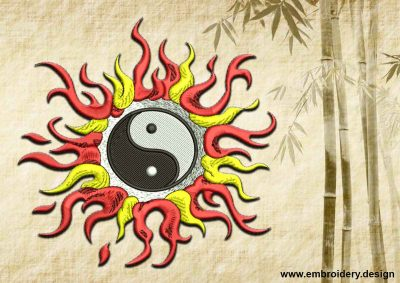 This Yin Yang in flames design was digitized and embroidered by www.embroidery.design.
