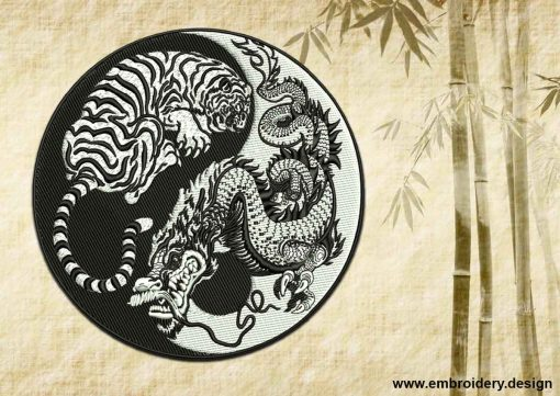 This Yin Yang symbol and Tiger with Dragon (black and white) design was digitized and embroidered by www.embroidery.design.