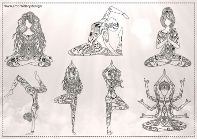 The pack of embroidery designs Yoga girls