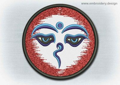 This Yoga And Mandala Patch Buddha's Eyes design was digitized and embroidered by www.embroidery.design.