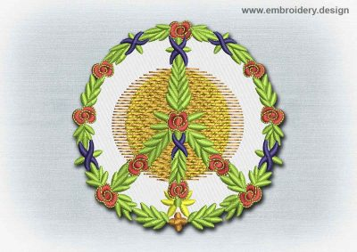This Yoga And Mandala Patch Floral Peace Symbol design was digitized and embroidered by www.embroidery.design.