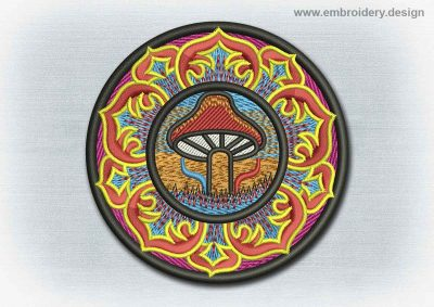 This Yoga And Mandala Patch Mushroom And Lotus design was digitized and embroidered by www.embroidery.design.