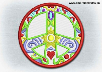This Yoga And Mandala Patch Patterned Peace Symbol design was digitized and embroidered by www.embroidery.design.