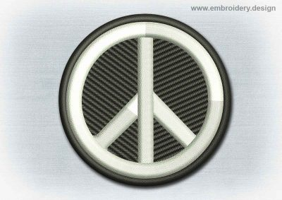 This Yoga And Mandala Patch Peace Symbol design was digitized and embroidered by www.embroidery.design.