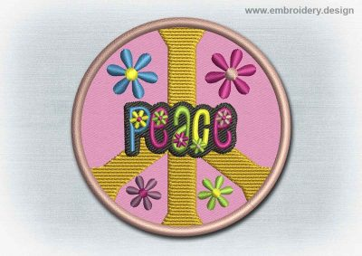 This Yoga And Mandala Patch Peace Symbol With Flowers design was digitized and embroidered by www.embroidery.design.