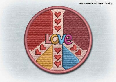 This Yoga And Mandala Patch Peace Symbol With Hearts design was digitized and embroidered by www.embroidery.design.
