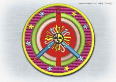This Yoga And Mandala Patch Peace Symbol With The Sun design was digitized and embroidered by www.embroidery.design.