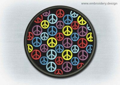 This Yoga And Mandala Patch Rainbow Peace Symbols design was digitized and embroidered by www.embroidery.design.