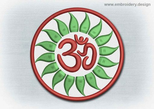 This Yoga And Mandala Patch Red Sanskrit Om design was digitized and embroidered by www.embroidery.design.