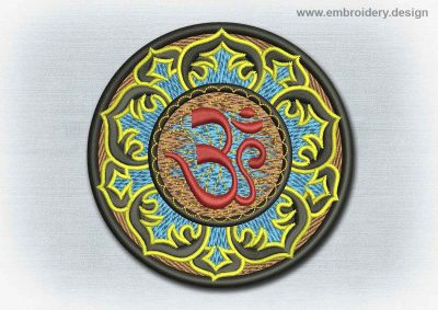 This Yoga And Mandala Patch Sanskrit Om In Lotus design was digitized and embroidered by www.embroidery.design.