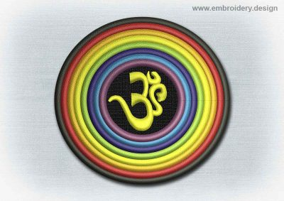 This Yoga And Mandala Patch Sanskrit Om In Rainbow design was digitized and embroidered by www.embroidery.design.