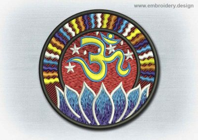 This Yoga And Mandala Patch Sanskrit Om In The Universe design was digitized and embroidered by www.embroidery.design.