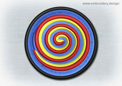 This Yoga And Mandala Patch Spiral design was digitized and embroidered by www.embroidery.design.