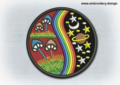 This Yoga And Mandala Patch The Universe And Mushrooms design was digitized and embroidered by www.embroidery.design.