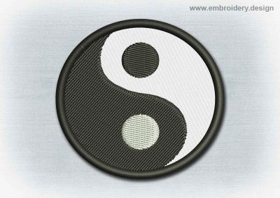 This Yoga And Mandala Patch Yin Yang design was digitized and embroidered by www.embroidery.design.
