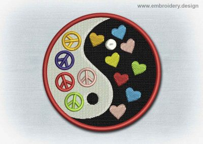 This Yoga And Mandala Patch Yin Yang With Hearts and Peace Symbols design was digitized and embroidered by www.embroidery.design.