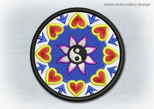 This Yoga And Mandala Patch Yin Yang In Lotus design was digitized and embroidered by www.embroidery.design.
