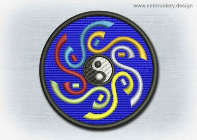 This Yoga And Mandala Patch Yin Yang With Motley Spiral design was digitized and embroidered by www.embroidery.design.