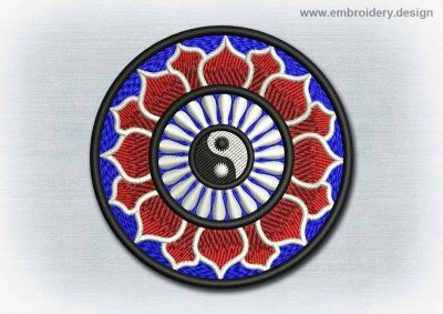 This Yoga And Mandala Patch Yin Yang With Red Lotus design was digitized and embroidered by www.embroidery.design.