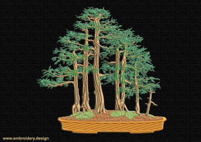This Yose Ue Bonsai design was digitized and embroidered by www.embroidery.design.