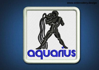 This Zodiac Patch Aquarius design was digitized and embroidered by www.embroidery.design.