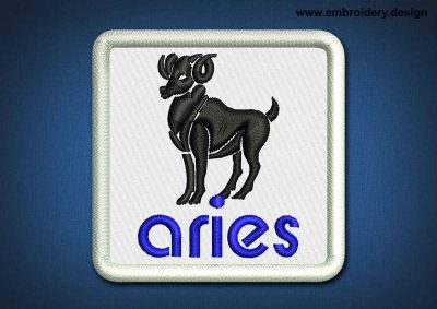 This Zodiac Patch Aries design was digitized and embroidered by www.embroidery.design.